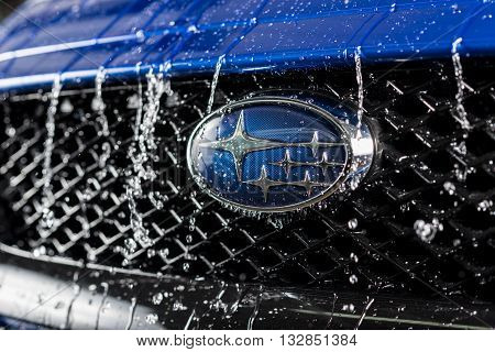 BANGKOK, THAILAND - JUNE 2, 2016 : Water dripping down on latest all-new Subaru WRX front grill, from now on WRX will be separate from impreza model