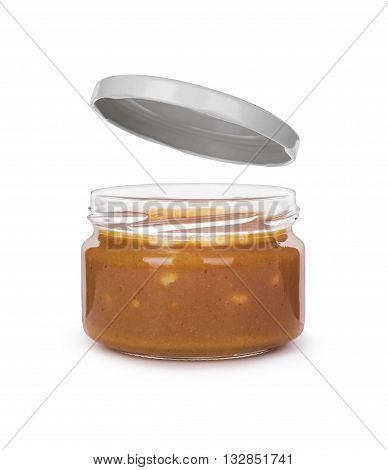 Jar of peanut butter isolated on a white background