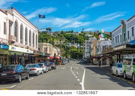 Wellington New Zealand - November 19 2014: Jolly Roger and Art Deco architecture on Hastings Street Napier Hawkes Bay North Island New Zealand.