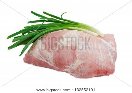 Big piece of fresh uncooked pork from the cut of hind leg and several green onion on light background