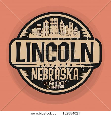 Stamp or label with name of Lincoln, Nebraska, vector illustration