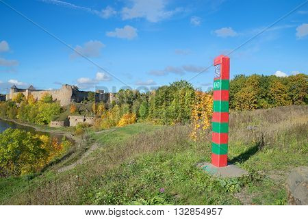 LENINGRAD REGION, RUSSIA - SEPTEMBER 27, 2015: The Russian border post at Ivangorod fortress, september day. Historical landmark of the Leningrad region, Russia