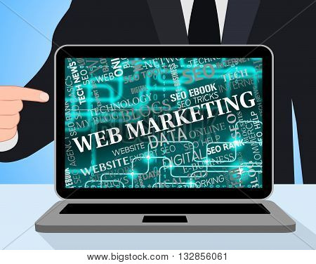 Web Marketing Represents Email Lists And Computing