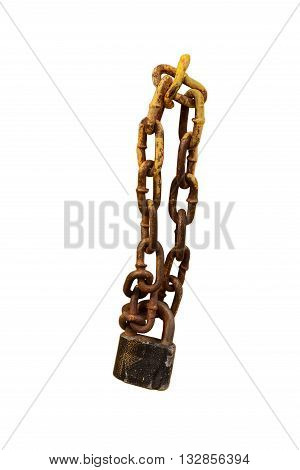 Old iron lock hangs on a thick chain Old iron lock hangs on a thick chain on a white background