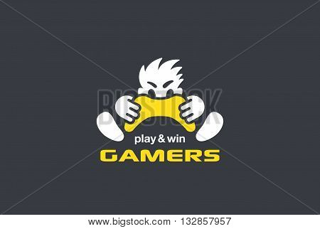 Player Gamer holding Game-pad Joystick Logo vector Play Game