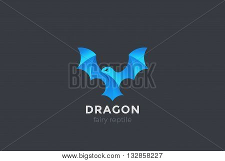 Flying Dragon Logo Wings abstract Magic Fairy Reptile Bird icon