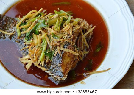 deep fried mango fish in ginger soy sauce