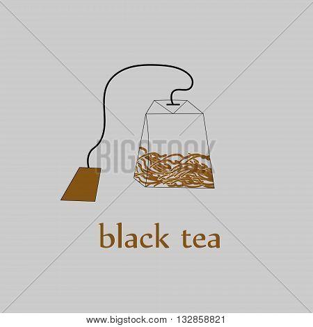 Black tea bag with leaves Bag of black tea with large leaves on a string inside