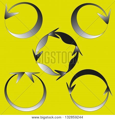 Round arrows vector illustration Drawing on a yellow background set of five black circular arrow vector image for decoration and design