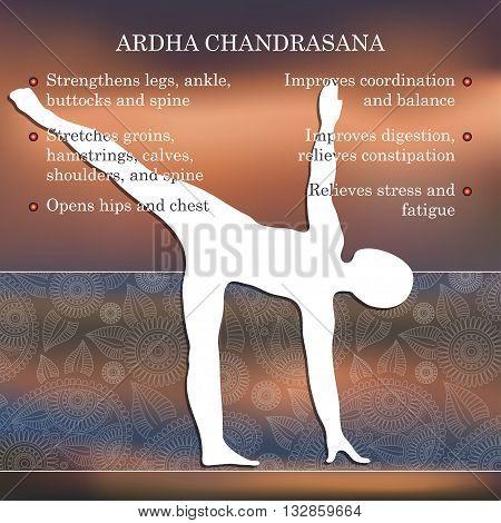 Yoga pose infographics, benefits of practice Ardha Chandrasana