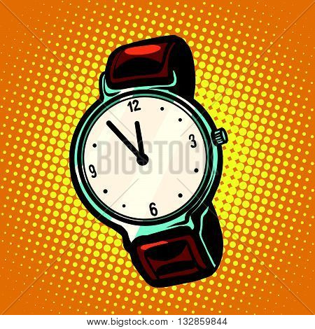 Retro wrist watch with leather strap pop art retro vector. A watch with hands and dial. Time and precision. Five minutes to midnight or noon