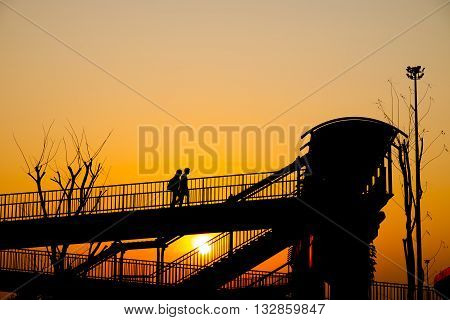 Overpass walk way silhouette background and wallpaper