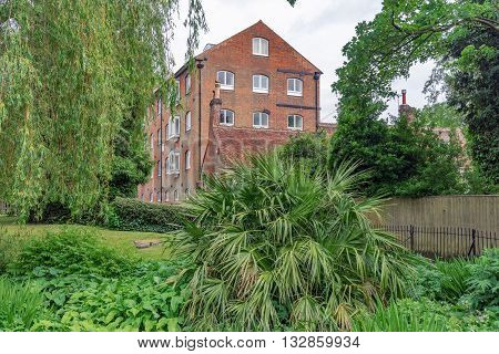 Wharf Mill in the Weirs Gardens, Winchester, Hampshire