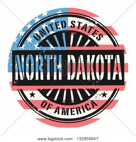 Grunge rubber stamp with the text United States of America, North Dakota, vector illustration