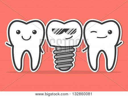 Cartoon dental implant and teeth. Smiling teeth and dental implant. Funny vector illustration