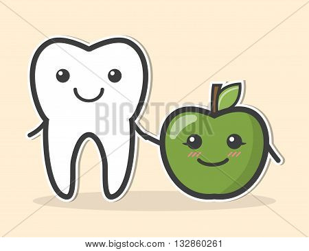 Healthy tooth and apple. Vector dental illustration