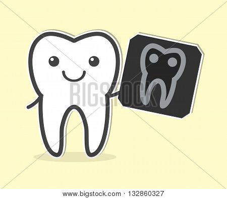 Happy tooth with X-ray film. Vector illustration
