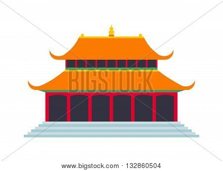 Chinese temple asia culture architecture and travel ancient building chinese temple. Chinese famous old structure temple, chinese religion. Beautiful china travel landmarks chinese temple vector.