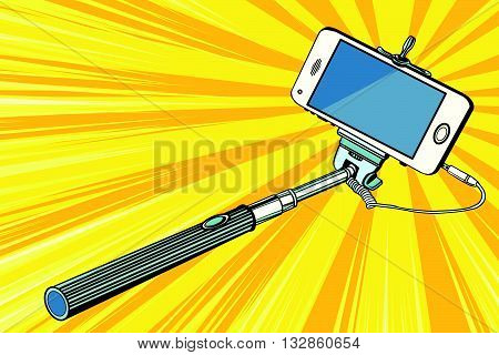 Selfie stick smartphone shooting pop art retro vector