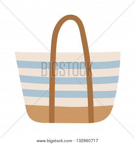 Summer bag isolated on white background. Summer bag vacation travelling concept. Flat design illustration Summer bag travel suitcase icon. Travel beach bag icon.
