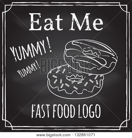 Eat Me. Elements On The Theme Of The Restaurant Business.  Chalk Drawing On A Blackboard. Logo, Bran