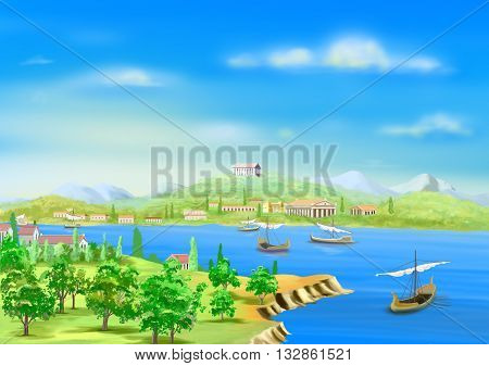 Digital Painting Illustration of the ancient city in Egypt on the banks of the Nile River in Realistic Cartoon Style