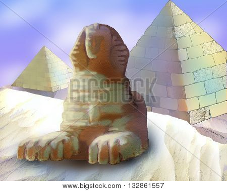 Digital Painting Illustration of a Pyramids And Sphinx in Realistic Cartoon Style