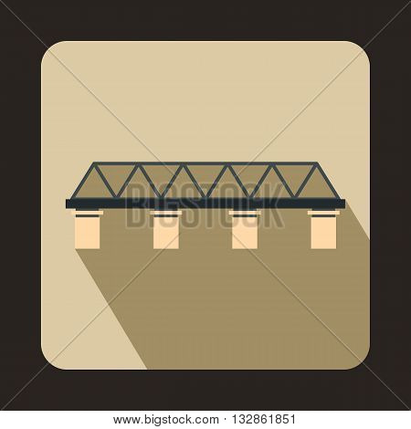 Bridge with pillars icon in flat style with long shadow. Construction and facilities symbol