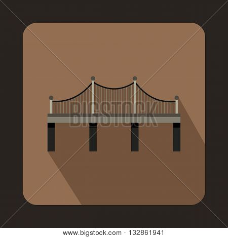 Iron bridge icon in flat style with long shadow. Construction and facilities symbol
