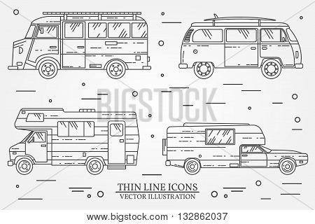 Set Of Cars For Camping.  Car And Camper Set.  Summer Trip Family Travel Concept.   For Web Design A