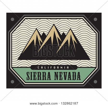 Stamp with the text Sierra Nevada, California, vector illustration