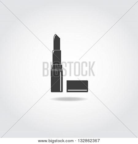 Lipstick black icon. Open lipstick for makeup.