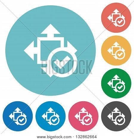 Flat size accept icon set on round color background.