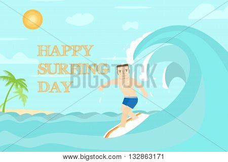 Happy Surfing Day Flat Design. The Man Surfing On The Ocean. For Web Design And Application Interfac