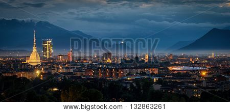 Turin (Torino) high definition panorama with all the city skyline including the Mole Antonelliana the new skyscraper and the Sacra di San Michele in the background