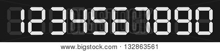 set of vector digital numbers on black background for digital calculator