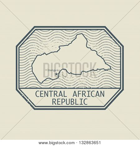 Stamp with the name and map of Central African Republic, vector illustration