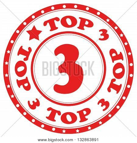 Red stamp with text Top 3,vector illustration