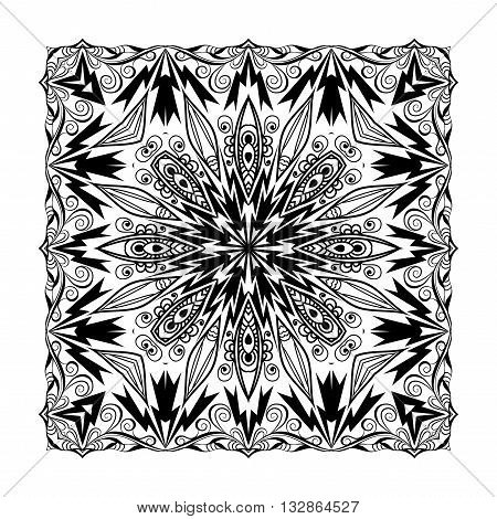 Vector quadratic mandala. Ethnic decorative elements. Hand drawn background. Black and white ornament