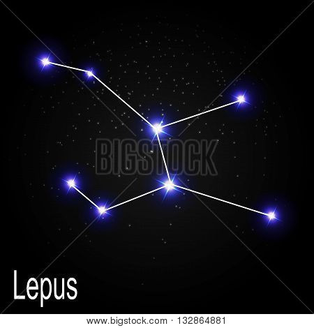 Lepus Constellation with Beautiful Bright Stars on the Background of Cosmic Sky Vector Illustration EPS10