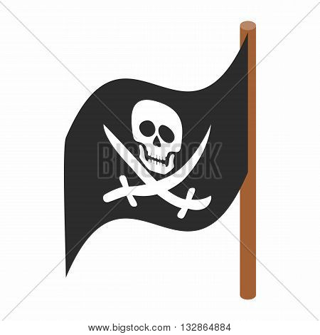 Pirate flag icon in isometric 3d style isolated on white background. Robbers symbol