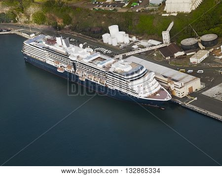 Aerial view of a cruise ship docked in the port of Hilo, Hawaii