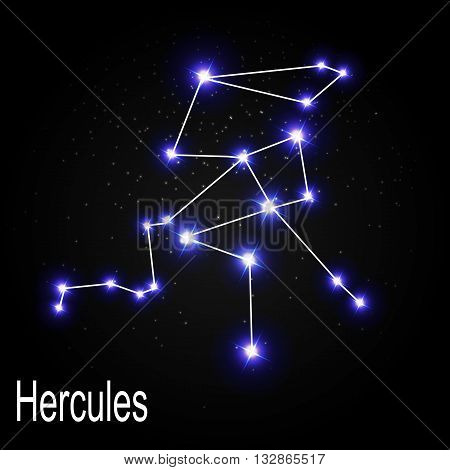 Hercules Constellation with Beautiful Bright Stars on the Background of Cosmic Sky Vector Illustration EPS10