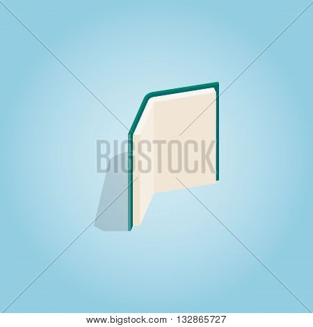 Open book stands upright icon in isometric 3d style on blue background. Reading symbol