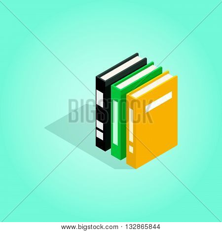 Three books of encyclopedia icon in isometric 3d style on blue background. Reading symbol