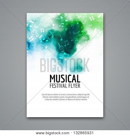 Colorful vector music festival concert template flyer. Musical flyer design poster with notes.