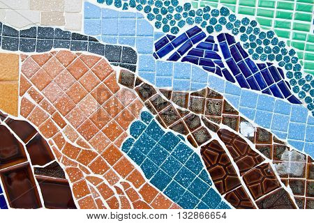 the colorful mosaic wall abstract for background