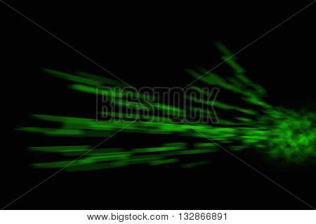 Green Laser Burst on black background illustration