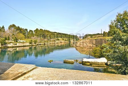 landscape of Corinth canal - part of the Isthmus of Corinth