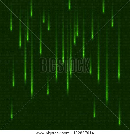 Green matrix effect with binary code. Abstract technology background. Falling numbers matrix style